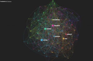 "Fullscreen network visualization of ""Discipline and Publish"""